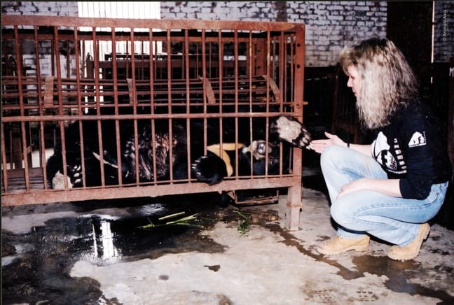 Jill Robinson With a Rescued Bear Named Jasper