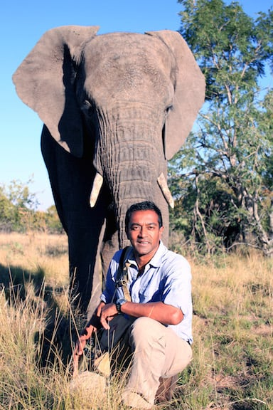 M Sanjayan With an Elephant in Tanzania
