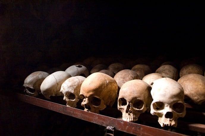Skulls from the Rwanda Genocide at Nyamata Memorial Site