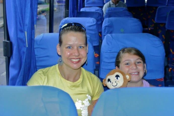 Mary Gabbett on the Bus ride from San Jose to Tortuguero, Costa Rica