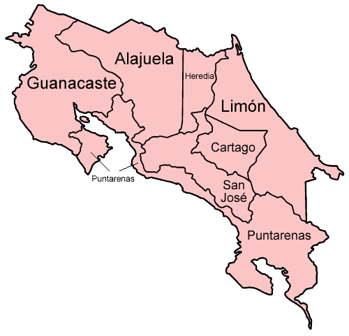 Costa Rica Destinations -map of provinces