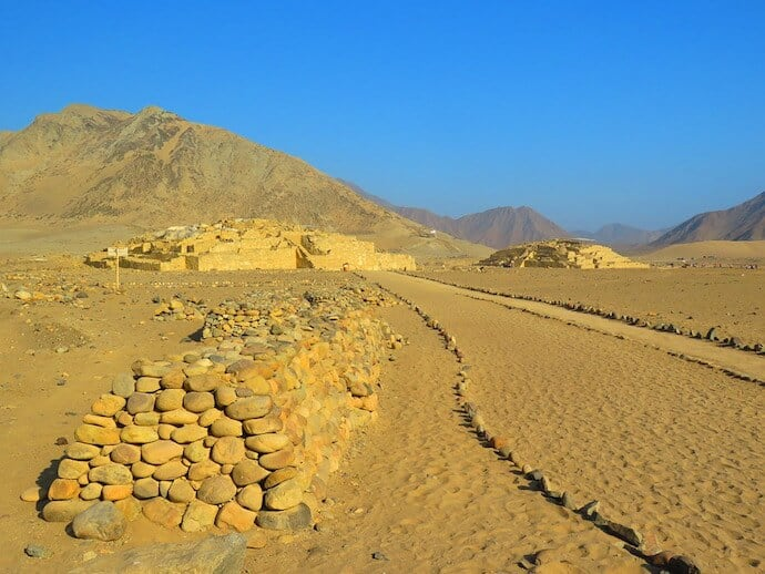 Ancient archaeological site of Caral Peru