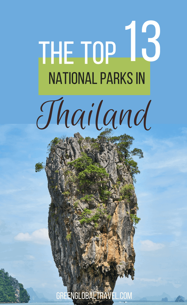 Thailand has more than its fair share of beautiful beaches, jaw-dropping landscapes & incredible animals. Check out our guide to the 13 Most Beautiful National Parks in Thailand, including Ang Thong Marine National Park, Doi Inthanon National Park, Erawan National Park, Khao Luang National Park, Phang Nga Bay and more! via @greenglobaltrvl | Thailand Travel Tips | Thailand Parks| Thailand Wildlife | Thailand Travel Destinations | Thailand Animals