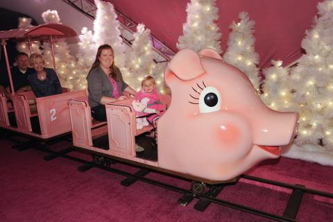 Fun Atlanta Christmas Things To Do -Ride Macy's Pink Pig