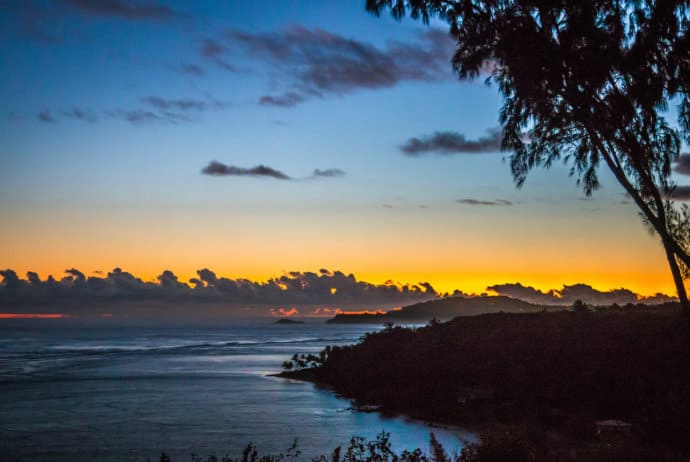 Sunrise over Daniel K. Inouye Kilauea Point Lighthouse in Kauai, Hawaii