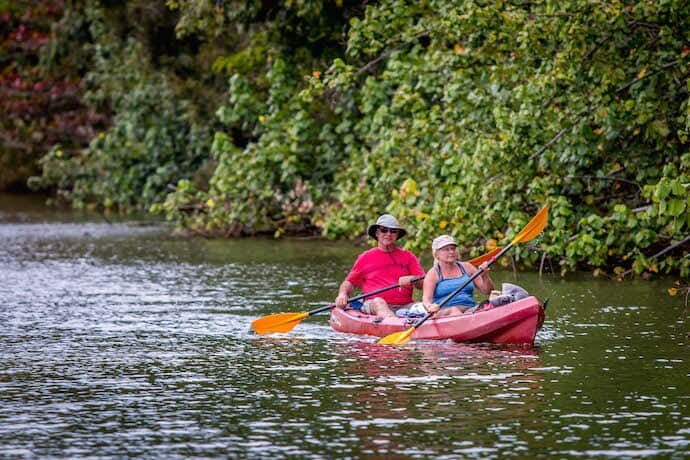 Kayaking the Wailua River in Kauai, Hawaii