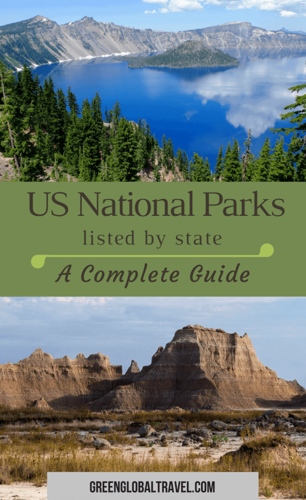 List of all 59 National Parks in the United States By State: including US National Parks Map, Printable National Park Checklist, Mini National Park Guides, FAQs & National Park Information. via @greenglobaltrvl #NationalParks, #NationalParksUnitedStates, #NationalParksMap, #NationalParksUSA, #NationalParksList