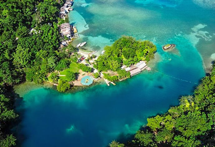 Bird's Eye View of the Blue Lagoon in Port Antonio, Jamaica