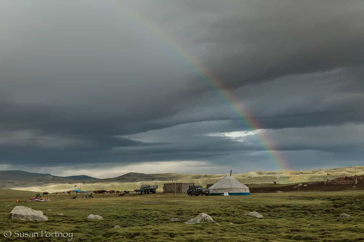 Mongolian Culture: Ger with Rainbow