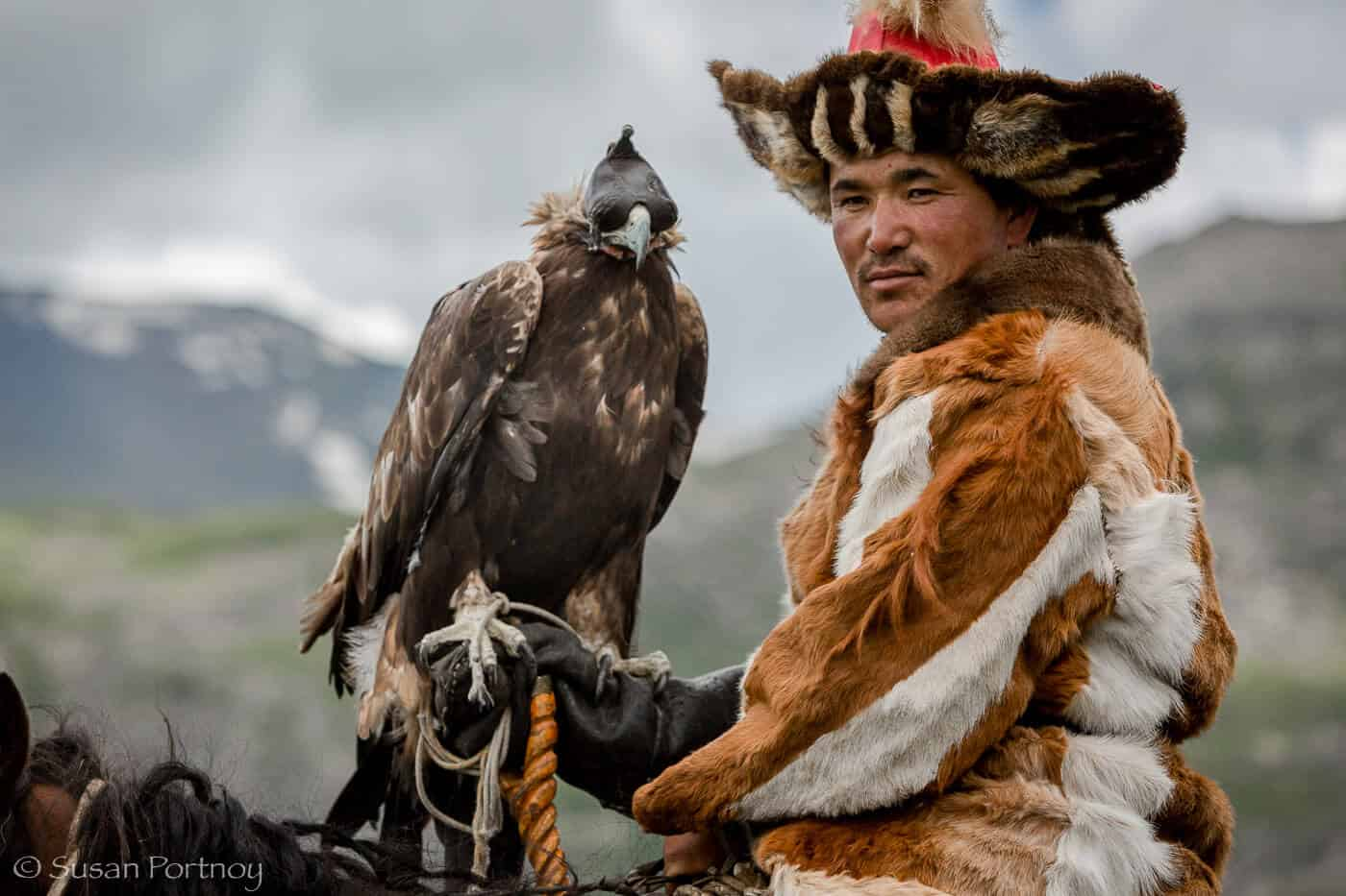 Mongolian Culture: Eagle Hunter Closeup