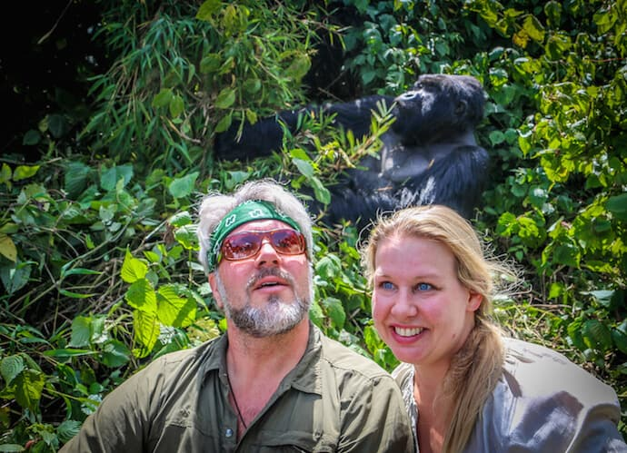 Posing with Mountain Gorilla in Volcanoes National Park, Rwanda