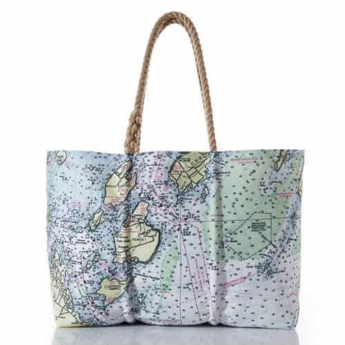 Best Tote Bags for a Beach Vacation -Seabags Casco Bay Nautical Chart Tote