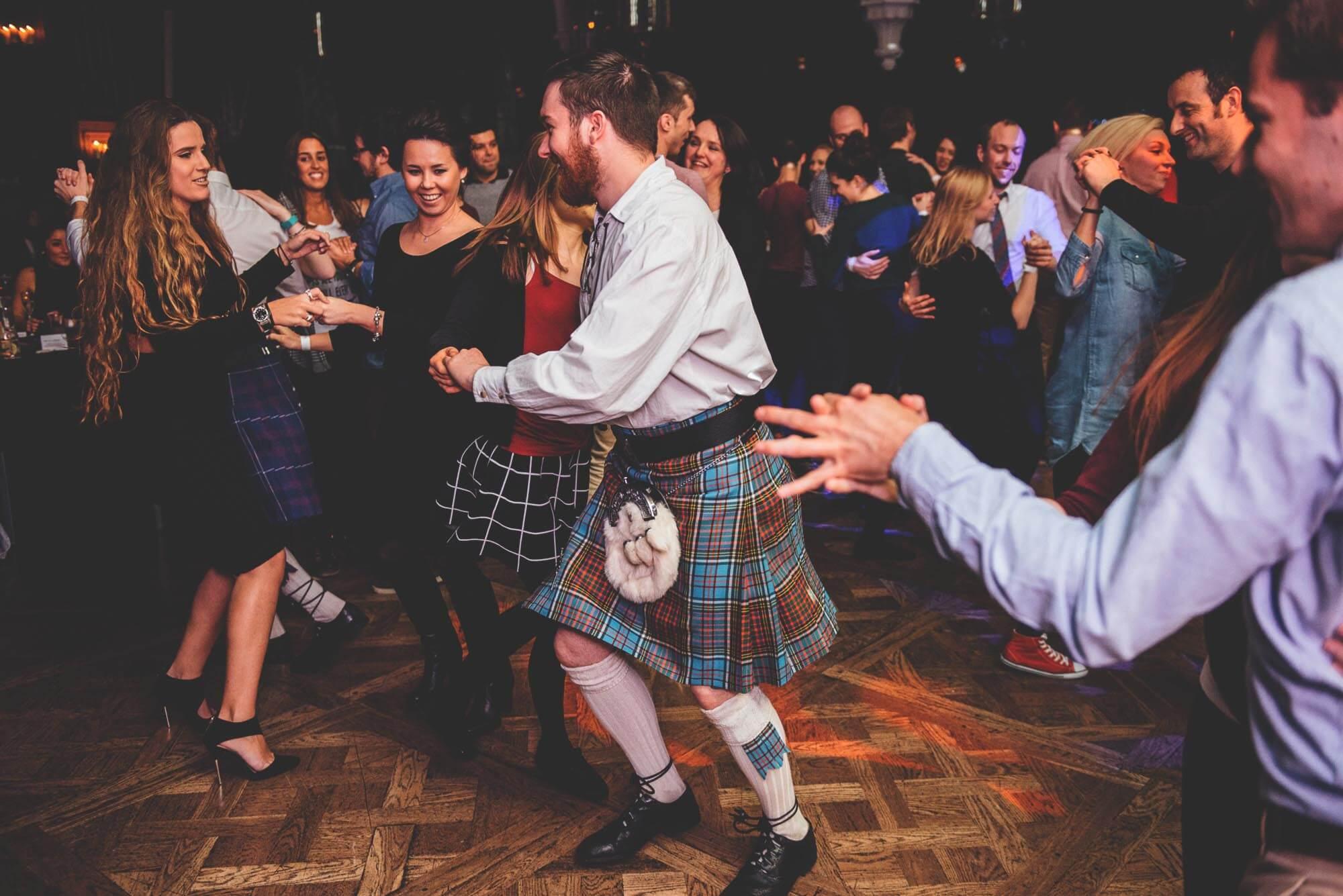 Ceilidh celebration at Ghillie Dhu, Edinburgh