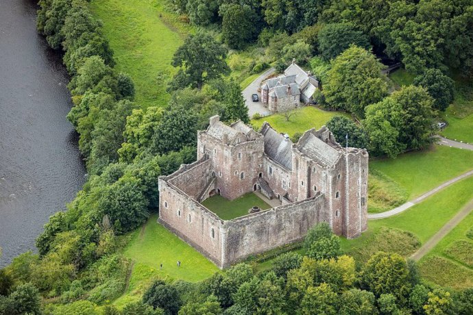 Aerial View of Doune Castle & Castle Keeper's Cottage