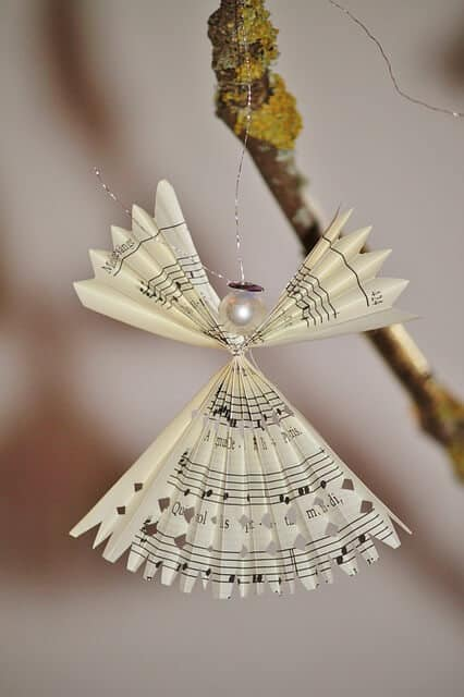 recycled christmas tree crafts angel made from sheet music - Recycled Christmas Decor