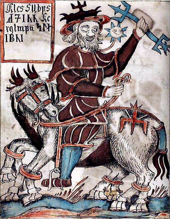 Odin riding Sleipnir from an 18th-century Icelandic manuscript