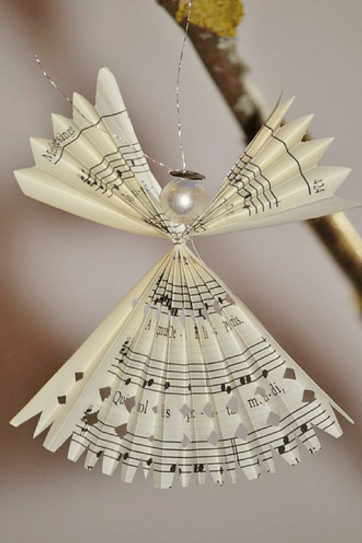 10 Recycled Christmas Decorations - How to make sheet music Angels @ greenglobaltrvl