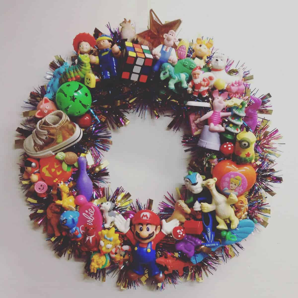 Recycled Christmas Wreath becomes a Toy Memory Wreath (tiffany terry)