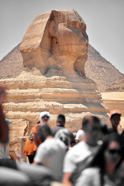 Crowds of tourists at the Pyramids of Giza, Egypt