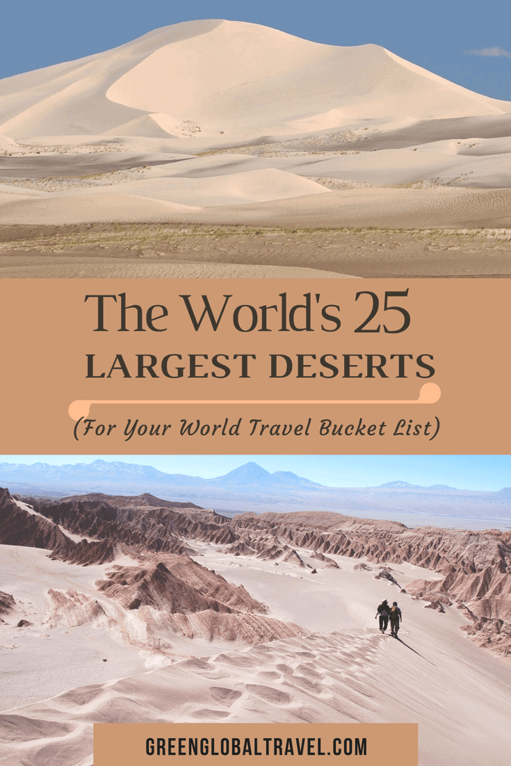 The world's 25 largest deserts, including Antarctica (#1), the Arctic (#2), the Sahara Desert (#3), Gobi Desert (#5), Kalahari Desert (#6), Patagonian Desert (#8), Chihuahuan Desert (#11), Great Sandy Desert (#12), Colorado Plateau (#14), Atacama Desert (#23), Mojave Desert (#24), Namib Desert (#25), and more. via @greenglobaltrvl