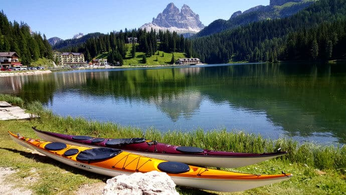 Kayaking near the Dolomites in Italy via @greenglobaltrvl