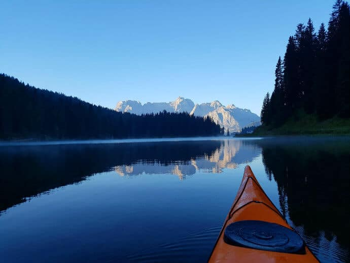 Kayaking the Dolomites in Italy via @greenglobaltrvl