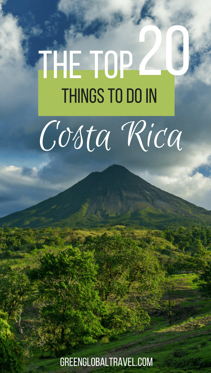 Top 20 Things to Do In Costa Rica (For Nature & History Lovers), including Arenal Volcano, Caño Negro Wildlife Refuge, Corcovado National Park, Manuel Antonio National Park, Monteverde Cloud Forest, Playa Montezuma, mysterious stone spheres, Tabacón Hot Springs, Tortuguero National Park, and much more. via @greenglobaltrvl
