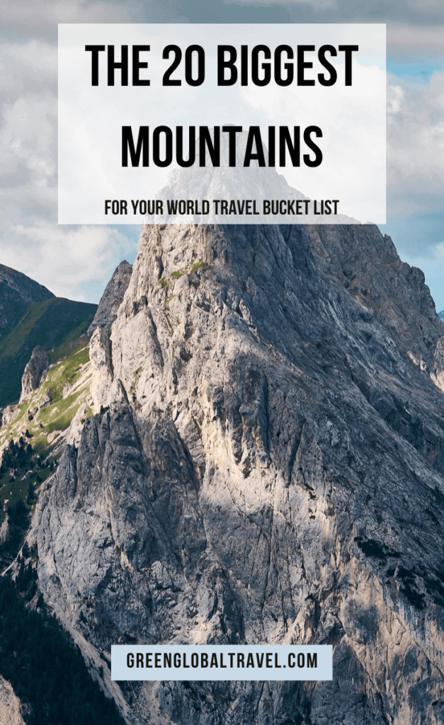 An overview of the 20 Tallest Mountains in the World, broken down by continent, including the famed Seven Summits and many of the Volcanic Seven Summits for your World Travel Bucket List. via @greenglobaltrvl #Mountains #MountainClimbing #MountainsPhotography #MountainLandscape #HikingTrails #MountEverest #DenaliNationalPark #HImalayas