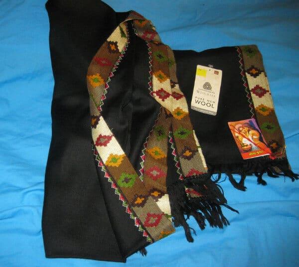 Kullu Black Woolen Shawl