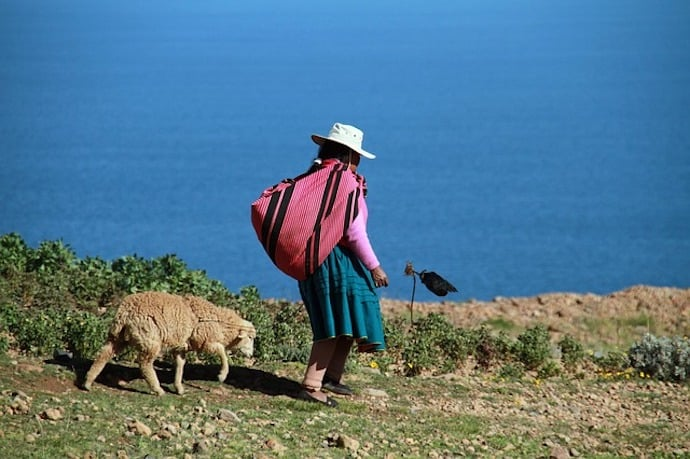 Largest freshwater lake in South America - Lake Titicaca, South America