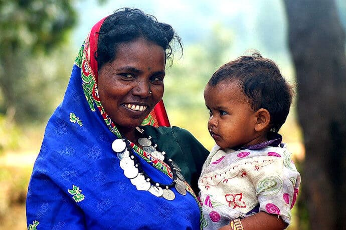 Adivasi woman and child, Chhattisgarh