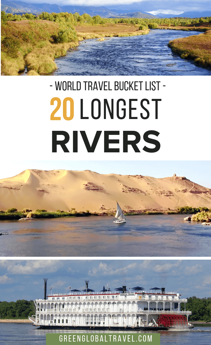 Check out this awesome overview of the 20 longest rivers in the world by continent for your world travel bucket list, including the Amazon, Nile, Yangtze, Mississippi, Yenisei, Congo & more. via @GreenGlobalTrvl  #Rivers #BestRiverstoFloat #BestRiverstoKayak #BestRiversintheWorld #AmazonRiver #NileRiver #CongoRiver #YangtzeRiver