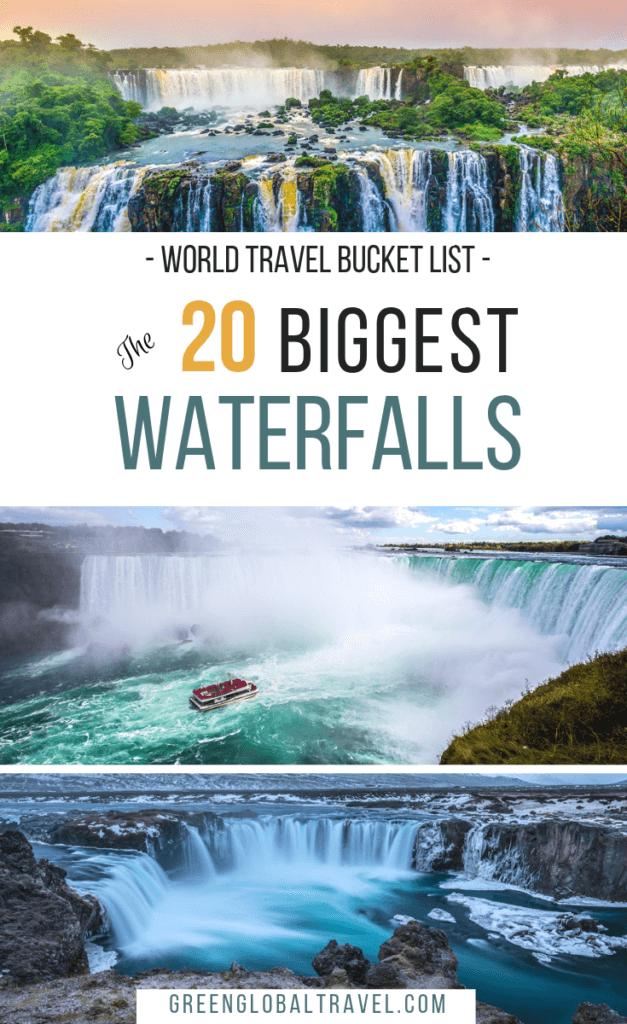 The 20 Biggest Waterfalls in the World (By Continent), including the highest waterfalls, largest waterfalls by volume, and biggest drops, via @GreenGlobalTrvl. #BeautifulWaterfallsPhotography #Waterfalls #WaterfallsAroundTheWorld #BiggestWaterfalls #BeautifulWaterfalls
