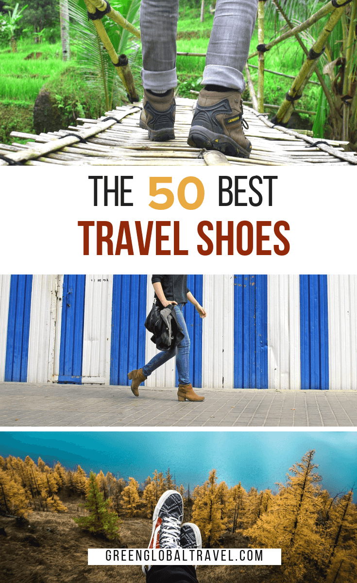 The best travel shoes balance fashion with function.. Here's a look at our picks including boots, flats, sandals, sneakers, walking shoes, vegan shoes and more! #travelshoes #travelshoeswomen #travelshoeswalking #travelshoeswomeneurope #shoessneakers #shoesboots