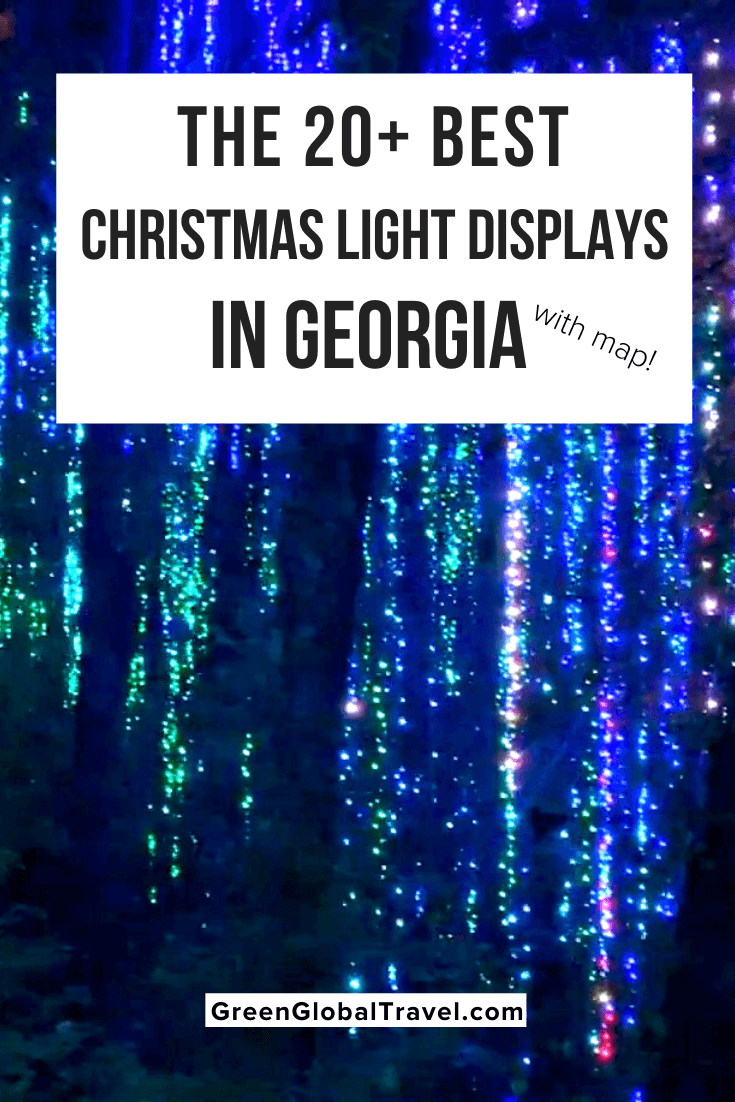 20 Best Christmas Light Displays in Georgia w/ Map! including the Botanical Gardens, Lake Lanier, Callaway Gardens, Stone Mountain, Blue Ridge & more. | southern lights | christmas light displays | southern christmas show | best christmas lights| lights of the south | best outdoor christmas lights | christmas lights in atlanta | christmas in the south | georgia christmas | georgia christmas lights | christmas lights in georgia | holiday light show | atlanta christmas
