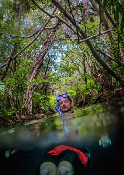 Ethan Gelber floating down the Rio Selva