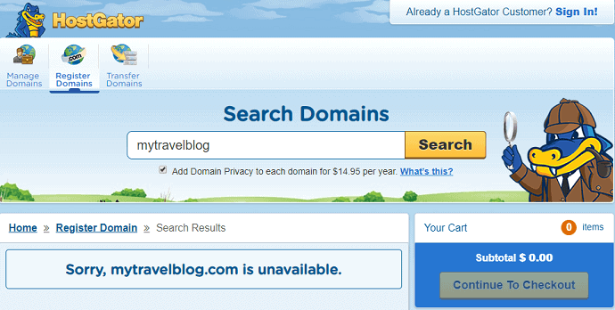 Searching Domains on HostGator