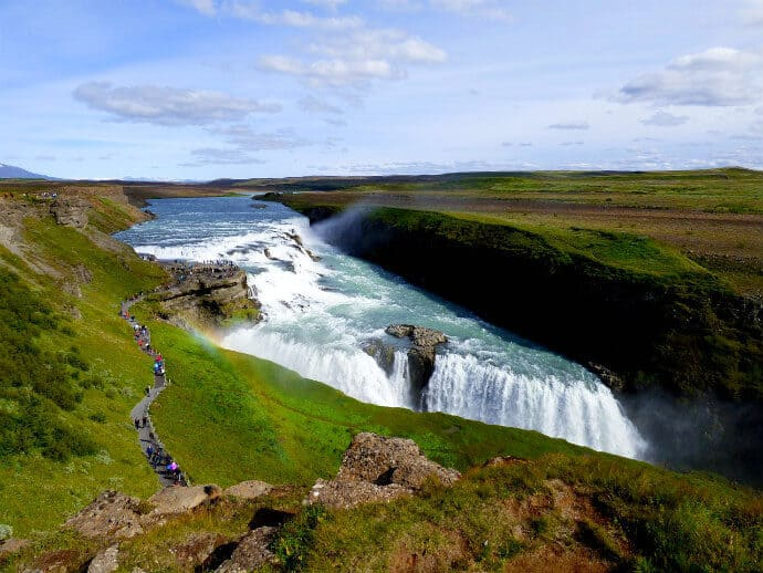 Iceland's most popular waterfall - Gullfoss Waterfall
