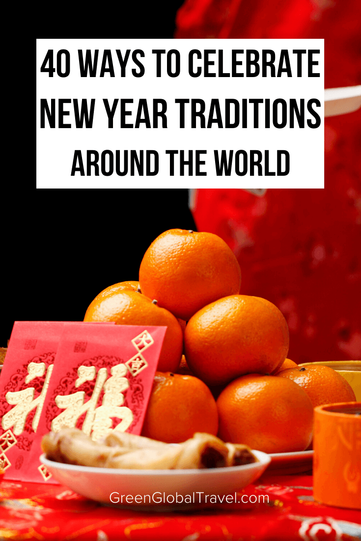 40 Ways to Celebrate New Year Traditions Around the World including New Year's Eve Food Traditions, New Year's Good Luck Traditions, New Year's Festivals, How to celebrate the New Year at Home, New Year's Clothing, New Year's Eve Traditions Around the World and more! new year wishes | new year's day food | new years eve food traditions | new year's eve traditions | new year good luck traditions | new year's food traditions around the world | new year customs | new years superstition