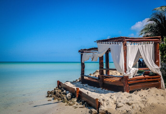 Beach cabana on Playa Holbox at Las Nubes de Holbox