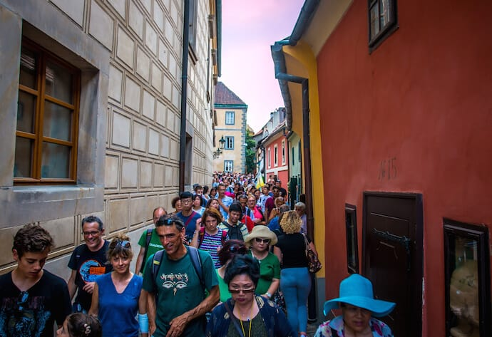 Prague Castle crowds on Golden Lane