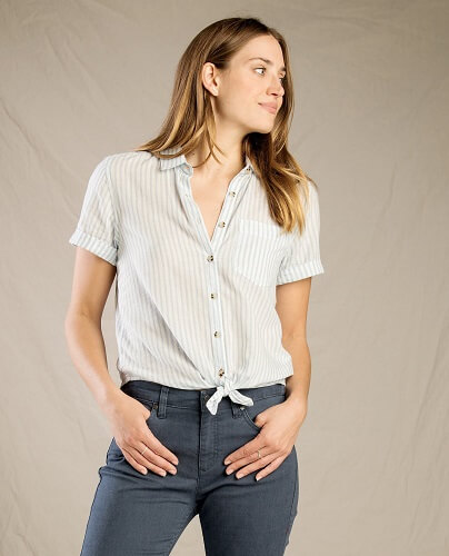 Best Womens Travel Shirt - Toad&Co Indigo For It Shirt