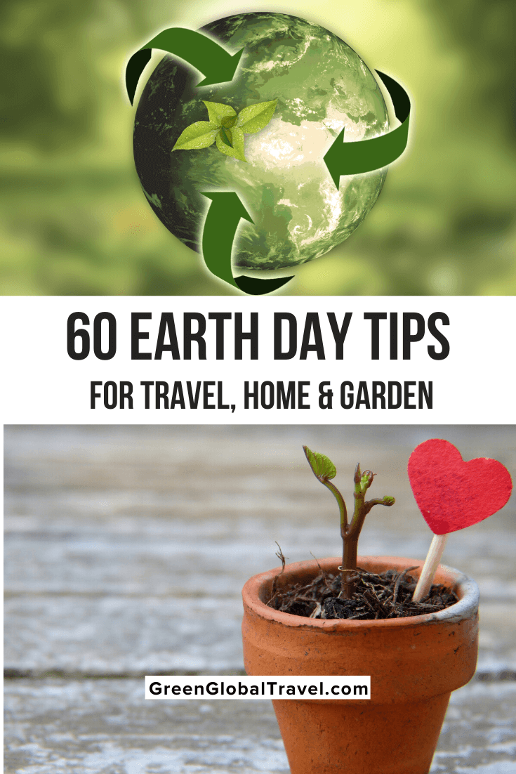 60 Earth Day tips for going green at home, in the garden & responsible travel including: reduce/reuse/recycle, eco-friendly gardening, saving energy, saving water. | earth day tips | earth day ideas | tips to save earth | eco tips | go green ideas | world earth day | going green tips | go green tips | why go green is important | how to going green | green tips | green living tips | greener lifestyles |eco tips | green lifestyle | environmentally friendly lifestyle | ways to be eco friendly