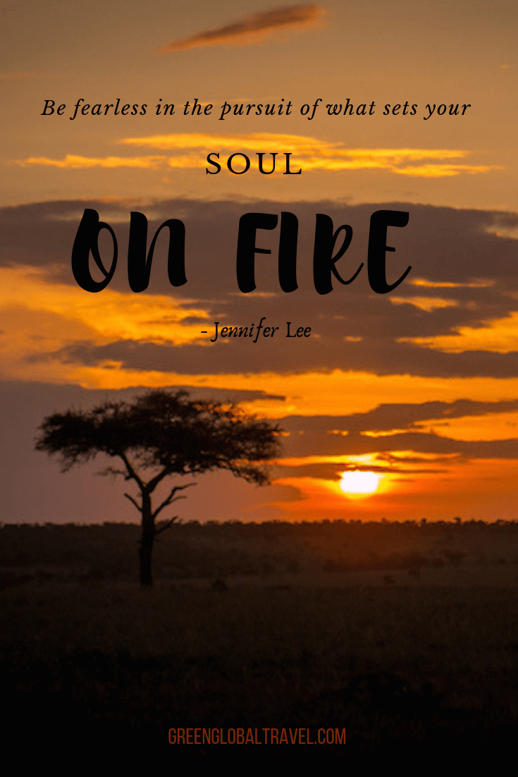 "Inspirational Safe Travel Quotes ""Be fearless in the pursuit of what sets your soul on fire."" – Jennifer Lee"