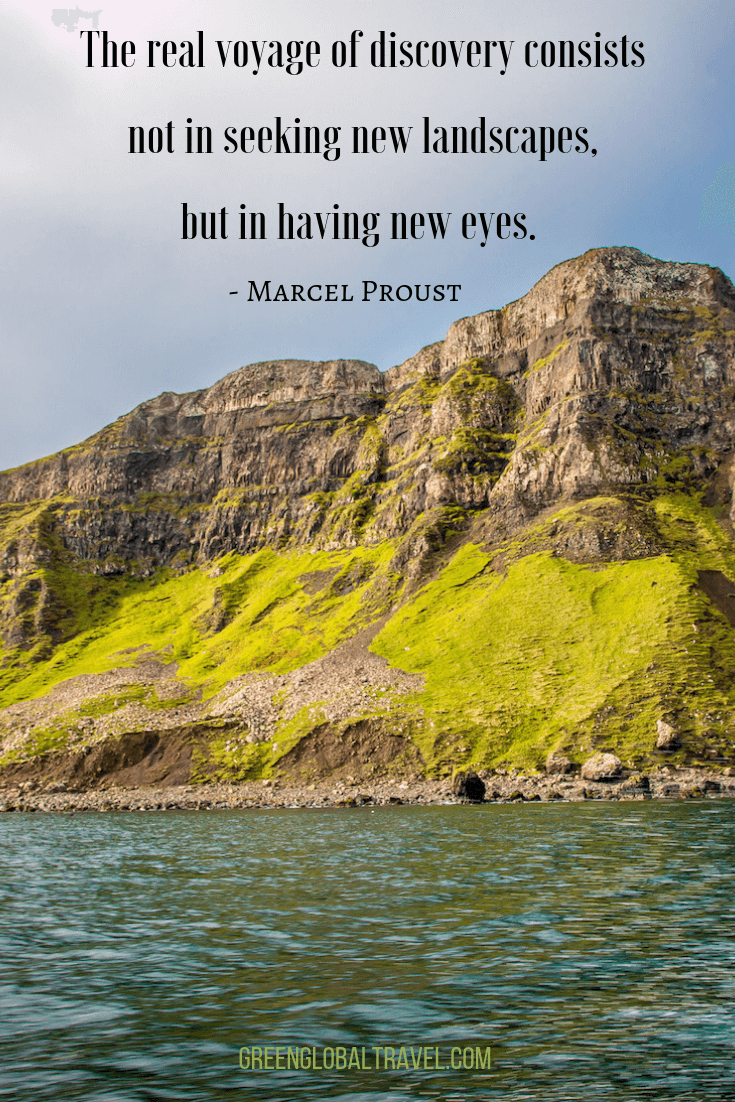 "Inspirational Travel Quotes ""The real voyage of discovery consists not in seeking new landscapes, but in having new eyes."" ― Marcel Proust"