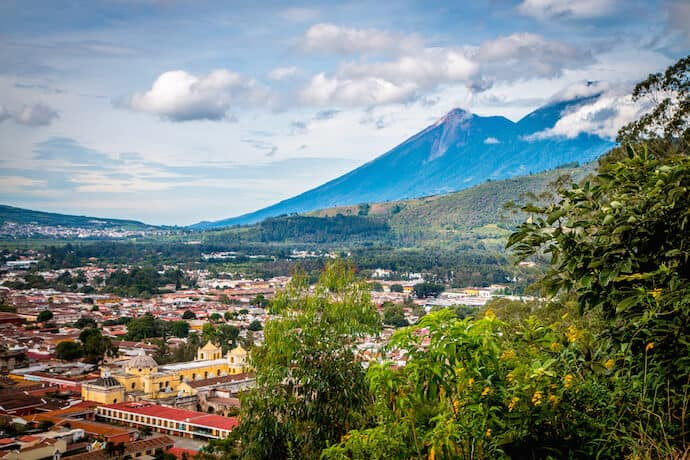 Antigua Guatemala seen from the Cerro de la Cruz Viewpoint in Antigua Guatemala