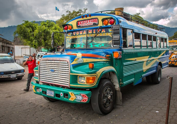 Chicken Bus Station in Antigua Guatemala