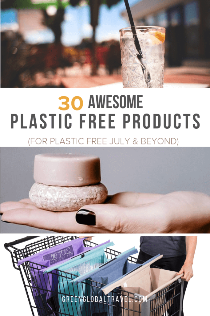 25 Awesome Plastic Free Products (for Plastic Free July & Beyond), including alternatives to plastic bags, BPA free water bottles, reusable straws, & more! via @GreenGlobalTrvl #PlasticFree #PlasticFreeProducts #PlasticFreeJuly #BPAfreeWaterBottles #EcoFriendlyBags #ZeroWaste #PlasticFreeLive #PlasticPollution