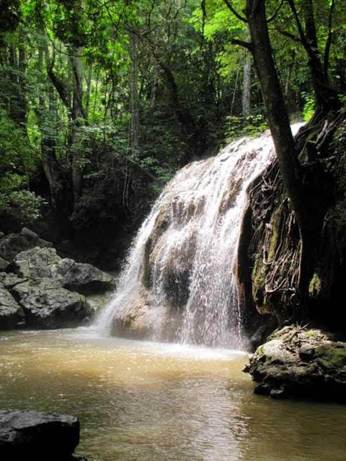 Hot Springs Waterfall at Finca El Paraiso in Rio Dulce, Guatemala