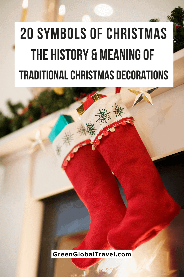 20 Symbols of Christmas: The History & Meaning of Traditional Christmas Decorations | christmas symbols | christmas customs | christmas legends | christmas tree decorations | christmas tree angel topper | christmas tree star topper | evergreen christmas tree | Hanging Christmas Stockings |holiday wreath | tinsel christmas tree | pickle ornament | Advent Candles | Boughs of Holly | Christmas Bells | Christmas Garland | Christmas Lights | Hanging Mistletoe |